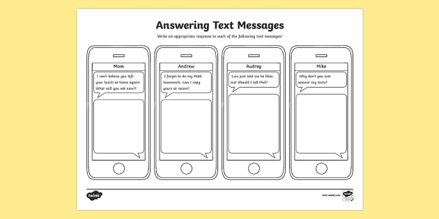 Replying to Text Messages Activity Sheet - Social Skills, social, sms, text, texting, text message, worksheet, text messaging, cell phone, repl
