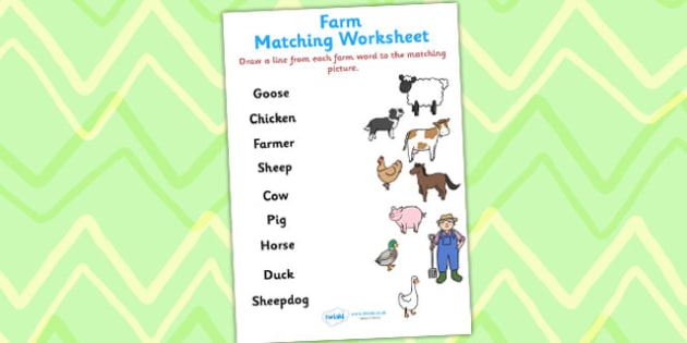 Farm Word and Picture Matching Worksheet - farm, match, matching