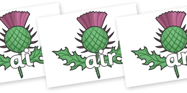 Phase 3 Phonemes on Scottish Thistles - Phonemes, phoneme, Phase 3, Phase three, Foundation, Literacy, Letters and Sounds, DfES, display