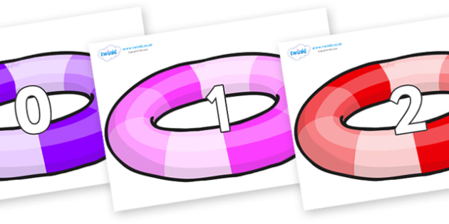 Numbers 0-31 on Inflatable Rings - 0-31, foundation stage numeracy, Number recognition, Number flashcards, counting, number frieze, Display numbers, number posters