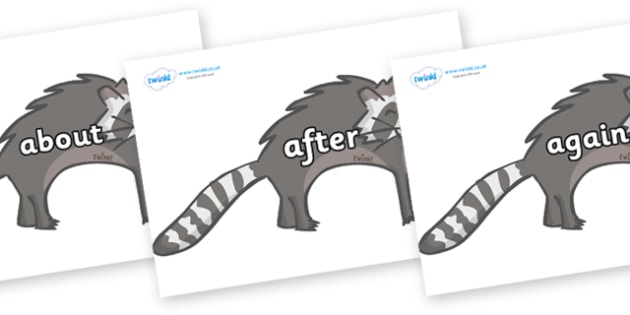 KS1 Keywords on Raccoons - KS1, CLL, Communication language and literacy, Display, Key words, high frequency words, foundation stage literacy, DfES Letters and Sounds, Letters and Sounds, spelling