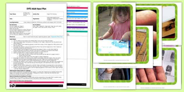 Fingerprint Painting EYFS Adult Input Plan And Resource Pack