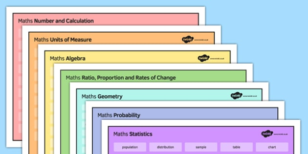 KS3 Maths Word Mat Pack - KS3, KS4, GCSE, Maths, keywords, vocabulary, revision, algebra, number, calculation, geometry, probability, ratio, proportion, statistics, measure