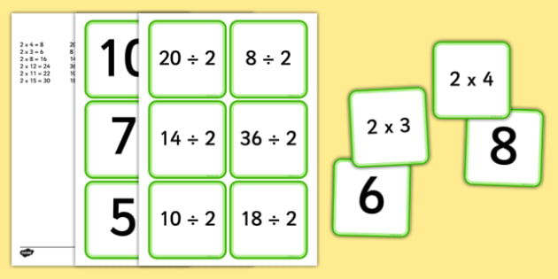 Multiplication and Division 2 Times Table Matching Cards - multiplication, division, 2 times table, times table, times tables, matching