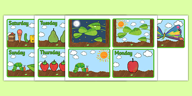 Story Sequencing (4 per A4) to Support Teaching on The Very Hungry Caterpillar - The Very Hungry Caterpillar,  Eric Carle, resources, Hungry Caterpillar, life cycle of a butterfly, days of the week, food, fruit, story, story book, story book resource