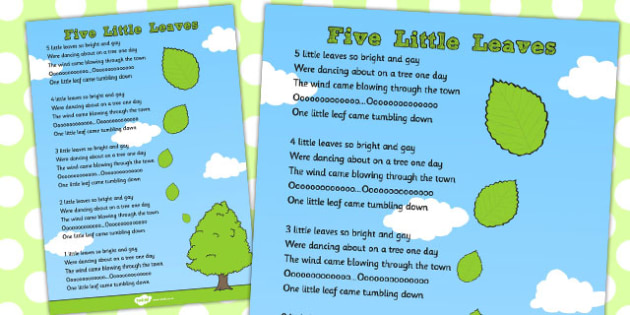 Five Little Leaves Counting Song Sheet - counting, song, sheet