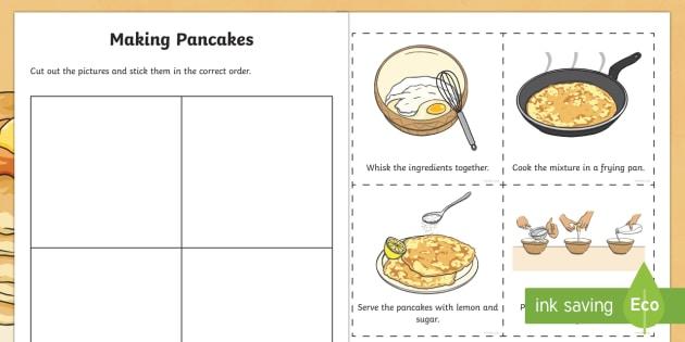 Making Pancakes Sequencing Activity Sheet - Pancake Tuesday/ Máirt na hInide, pancakes, flour, eggs, milk, mixing, baking, frying pan, cut and