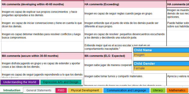 Writing Bank of Differentiated Statements EYFS Areas of Learning and General Report-Spanish - Spanish, KS2, report, writing, bank, statements, differentiated, EYFS, areas, learning, ,Spanish