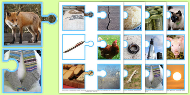 Photo Rhyming Words on Matching Jigsaws - photo rhyming, photo, rhyme, words, matching, jigsaws