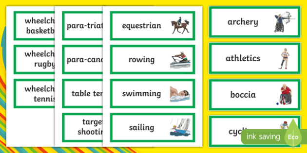 Paralympic Sports Word Cards - RIO Olympics, olympics, rio, 2016, paralympics, sport, word displays, word cards, display, Australia