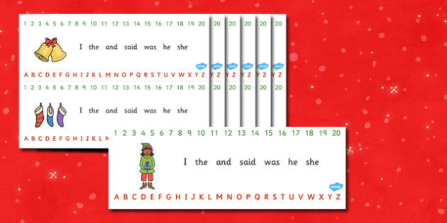 Combined Alphabet and Number Strips (Christmas) - Christmas, xmas, Alphabet, Numbers, Writing aid, tree, advent, nativity, santa, father christmas, Jesus, tree, stocking, present, activity, cracker, angel, snowman, advent , bauble, Writing Area, Coun