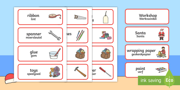 Santa's Workshop Role Play Word Cards Englsih/Afrikaans - christmas, acting, drama, role play, afrikaas, south african, eal, santa, elves