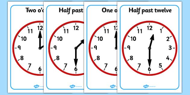 O Clock and Half Past on Clocks - o clock, half past, clock, time