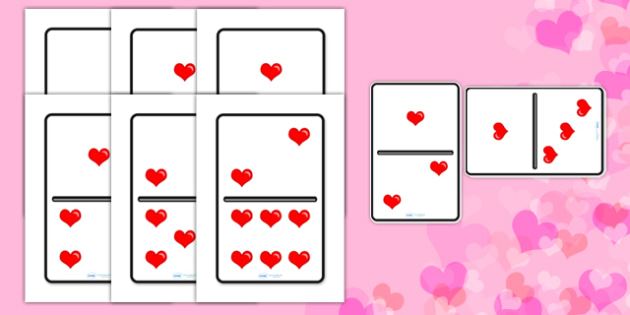 Valentine's Day A4 Heart Dominoes - valentines day, valenines, hearts, hearts dominoes, heart dominoes, large dominoes, big dominoes, big heart dominoes, love heart dominoes, domino, dominos, heart dominos, valentines dominos, activity, game, fun