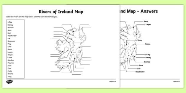 Rivers of Ireland Map Activity Sheet-Irish, worksheet