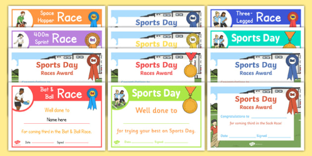 EYFS Races Sports Day Certificates Pack