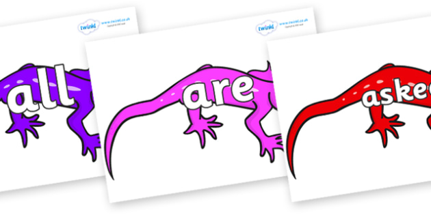 Tricky Words on Geckos - Tricky words, DfES Letters and Sounds, Letters and sounds, display, words
