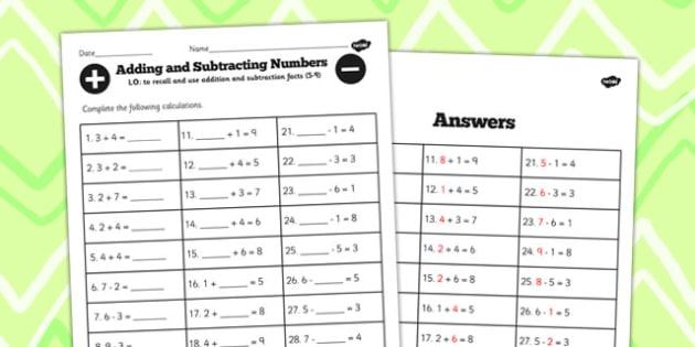 Number Facts Worksheet 5-9 - number, facts, worksheet, 2, 9, math