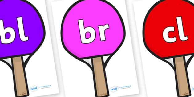 Initial Letter Blends on Table Tennis Bats - Initial Letters, initial letter, letter blend, letter blends, consonant, consonants, digraph, trigraph, literacy, alphabet, letters, foundation stage literacy
