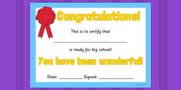 Ready for Big School Certificate - ready, big school, certificate, award