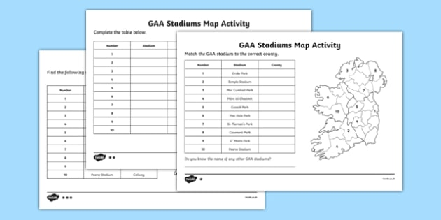 GAA Stadiums Map Activities - gaa, ireland, poetry, poems, acrostic, theme, sports, display, creative