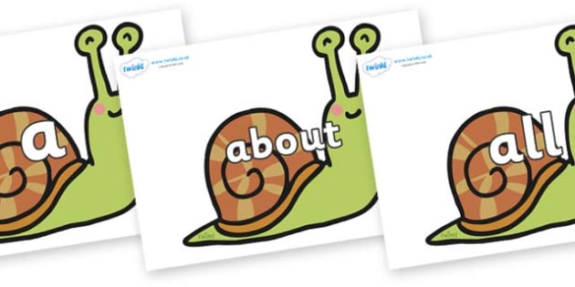 100 High Frequency Words on Snails - High frequency words, hfw, DfES Letters and Sounds, Letters and Sounds, display words