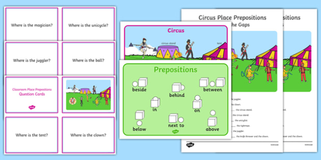 Circus Place Prepositions Pack - circus, place, prepositions, pack