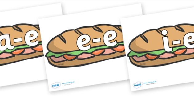 Modifying E Letters on Sandwiches - Modifying E, letters, modify, Phase 5, Phase five, alternative spellings for phonemes, DfES letters and Sounds