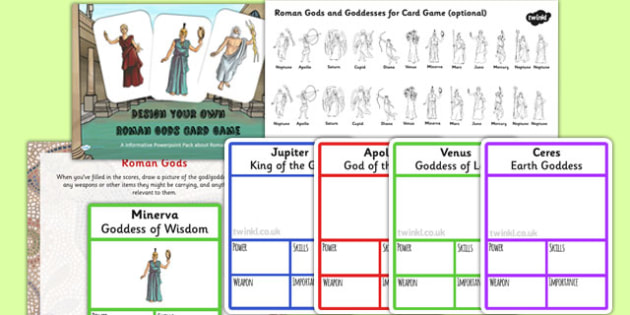 Roman Gods Card Game Task Setter Powerpoint - romans, gods, ppt