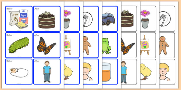 Before And After Match Up Cards - preposition, position, SEN