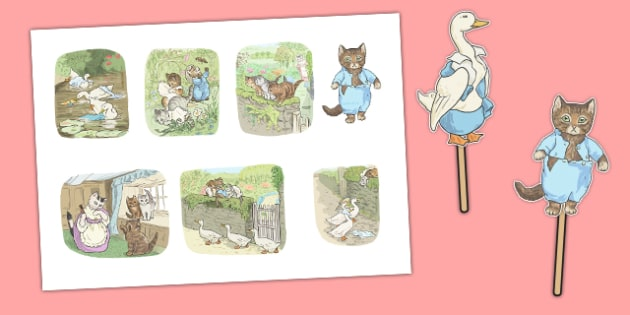 Beatrix Potter - The Tale of Tom Kitten Stick Puppets - beatrix potter, tom kitten