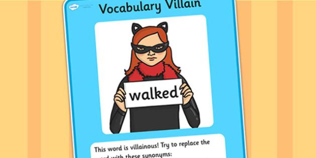 Vocabulary Villain Walked Display Poster - walked, vocabulary, vocabulary villian, display poster, poster for display, display, classroom display, keywords