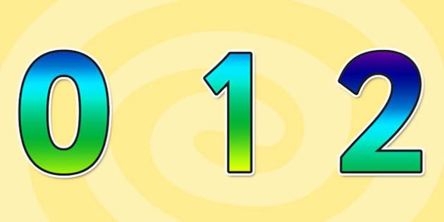 Rainbow Alphabet Display Numbers Small - rainbow, alphabet, display, numbers, small, display numbers, numbers for display, numbers 0-9, small numbers