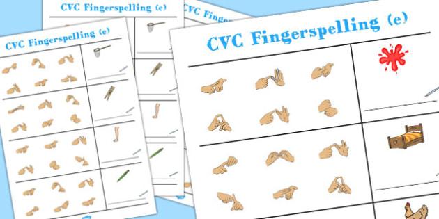CVC Spelling Worksheets with British Sign Language e - CVC, BSL