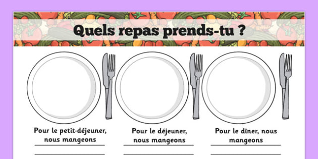 Quels repas prends-tu ? Meal Time Writing Templates French - french, meal time, writing frame, template, Lunchtime, dinner, breakfast, tea