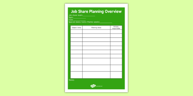 Job Share Planning Overview - job share, planning, overview, plan