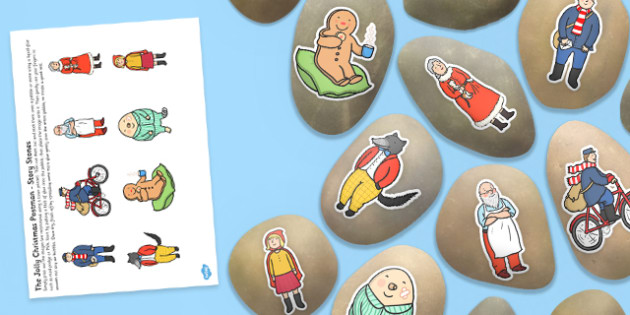 Story Stone Image Cut Outs to Support Teaching on The Jolly Christmas Postman - Story stones, stone art, painted rocks,  story telling, Jolly Christmas Postman, Christmas, festival, post office, story