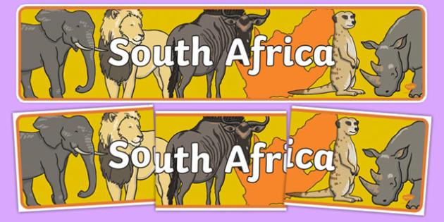 South Africa Display Banner - Africa display, banner, poster, safari, africa, lion, tiger, plain, hippo, cheetah, rhino, elephant, leopard, giraffe
