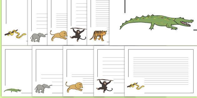 Jungle Animal Themed Page Borders - walking through the jungle, animals, story, book, page border, border, writing template, writing aid, writing, jungle, animal, lion, tiger, elephant, snake monkey, crocodile