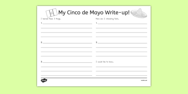 Cinco de Mayo Write Up Activity Sheet - usa, america, Cinco De Mayo, worksheet