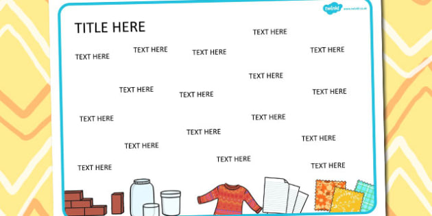 Materials Themed Editable Word Mat - literacy, words, writing
