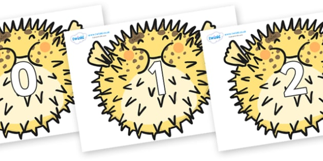 Numbers 0-31 on Pufferfish - 0-31, foundation stage numeracy, Number recognition, Number flashcards, counting, number frieze, Display numbers, number posters