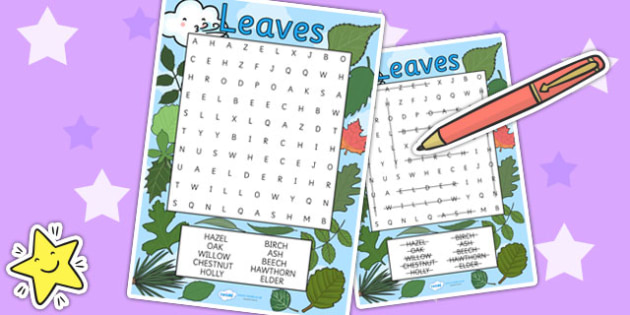 Leaves Wordsearch - leaves, flower, plants, wordsearch, growth