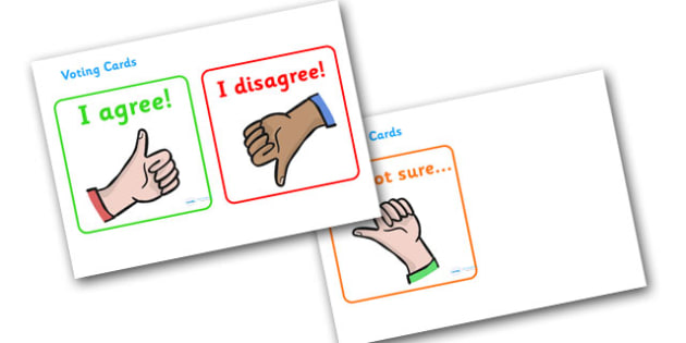 Pupil Voting Cards - pupil voting cards, pupil, voting, cards, flashcard, agree, disagree, not sure, vote, children, election