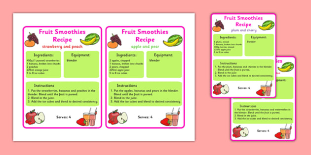 Smoothie Recipe Cards to Support Teaching on The Very Hungry Caterpillar - the very hungry caterpillar, smoothie recipes, smoothie recipe cards, themed recipe cards