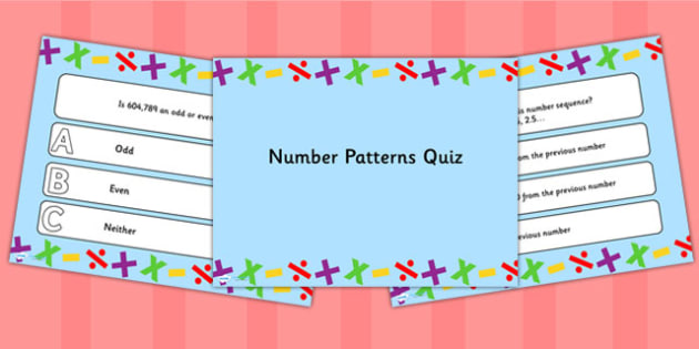 Number Patterns PowerPoint Quiz - number patterns, powerpoint