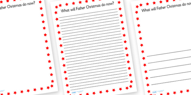 What Will Father Christmas Do Now Themed Writing Frame - christmas, xmas