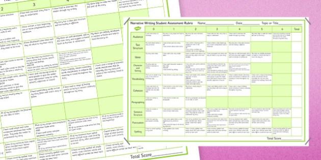 Narrative Writing Student Assessment Rubric - australia, Narrative, Rubric, Marking, Assessment, NAPLAN, Australian