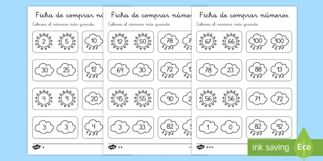 Ficha de comparar números:  El tiempo - El tiempo y las estaciones del año, proyecto, mayor, igual, menor, < >, Spanish