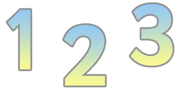 0-9 Display Numbers (Yellow Grad) - Display numbers, 0-9, numbers, display numerals, display lettering, display numbers, display, cut out lettering, lettering for display, display numbers